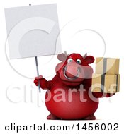 Clipart Graphic Of A 3d Red Bull Character Holding Boxes On A White Background Royalty Free Illustration