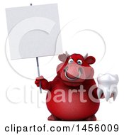 Clipart Graphic Of A 3d Red Bull Character Holding A Tooth On A White Background Royalty Free Illustration