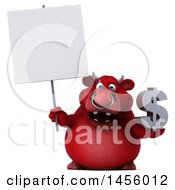 Clipart Graphic Of A 3d Red Bull Character Holding A Dollar Sign On A White Background Royalty Free Illustration