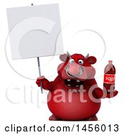 Clipart Graphic Of A 3d Red Bull Character Holding A Soda Bottle On A White Background Royalty Free Illustration