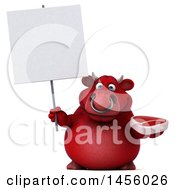 Clipart Graphic Of A 3d Red Bull Character Holding A Steak On A White Background Royalty Free Illustration
