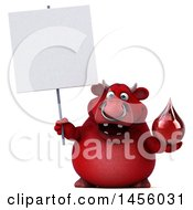 Clipart Graphic Of A 3d Red Bull Character Holding A Blood Drop On A White Background Royalty Free Illustration