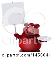 Clipart Graphic Of A 3d Red Bull Character Holding A Plate On A White Background Royalty Free Illustration