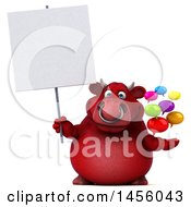 Clipart Graphic Of A 3d Red Bull Character Holding Speech Bubbles On A White Background Royalty Free Illustration