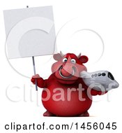 Clipart Graphic Of A 3d Red Bull Character Holding A Plane On A White Background Royalty Free Illustration