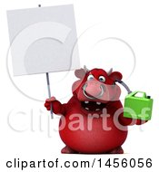 Clipart Graphic Of A 3d Red Bull Character Holding A Gas Can On A White Background Royalty Free Illustration