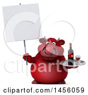 Clipart Graphic Of A 3d Red Bull Character Holding A Wine Tray On A White Background Royalty Free Illustration by Julos
