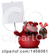 Clipart Graphic Of A 3d Red Bull Character Holding A Chocolate Egg On A White Background Royalty Free Illustration by Julos