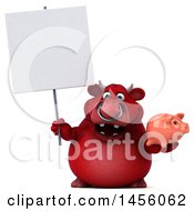 Poster, Art Print Of 3d Red Bull Character Holding A Piggy Bank On A White Background