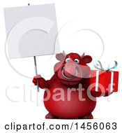 Clipart Graphic Of A 3d Red Bull Character Holding A Gift On A White Background Royalty Free Illustration by Julos