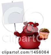 Clipart Graphic Of A 3d Red Bull Character Holding A Cupcake On A White Background Royalty Free Illustration by Julos