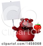 Clipart Graphic Of A 3d Red Bull Character Holding A Strawberry On A White Background Royalty Free Illustration by Julos