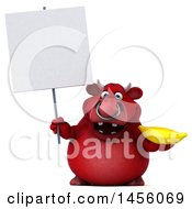 Clipart Graphic Of A 3d Red Bull Character Holding A Banana On A White Background Royalty Free Illustration by Julos