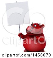 Clipart Graphic Of A 3d Red Bull Character Holding A Blank Sign On A White Background Royalty Free Illustration by Julos