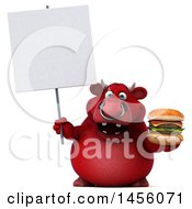 Clipart Graphic Of A 3d Red Bull Character Holding A Burger On A White Background Royalty Free Illustration by Julos