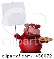 Clipart Graphic Of A 3d Red Bull Character Holding A Pizza On A White Background Royalty Free Illustration by Julos