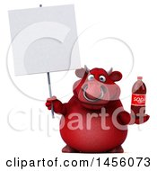 Clipart Graphic Of A 3d Red Bull Character Holding A Soda Bottle On A White Background Royalty Free Illustration by Julos