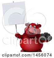 Clipart Graphic Of A 3d Red Bull Character Holding A Camera On A White Background Royalty Free Illustration by Julos
