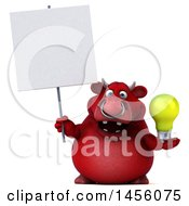 Clipart Graphic Of A 3d Red Bull Character Holding A Light Bulb On A White Background Royalty Free Illustration by Julos