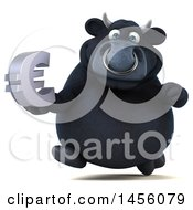 Poster, Art Print Of 3d Black Bull Character Holding A Euro Symbol On A White Background