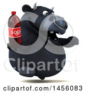 Clipart Graphic Of A 3d Black Bull Character Holding A Soda Bottle On A White Background Royalty Free Illustration
