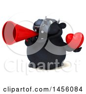 3d Black Bull Character Holding A Love Heart On A White Background