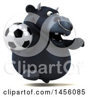 Clipart Graphic Of A 3d Black Bull Character Holding A Soccer Ball On A White Background Royalty Free Illustration