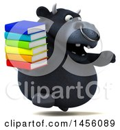 Clipart Graphic Of A 3d Black Bull Character Holding Books On A White Background Royalty Free Illustration