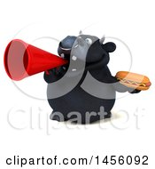 3d Black Bull Character Holding A Hot Dog On A White Background