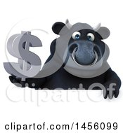 3d Black Bull Character Holding A Dollar Sign On A White Background