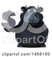 Clipart Graphic Of A 3d Black Bull Character Holding A Dollar Sign On A White Background Royalty Free Illustration