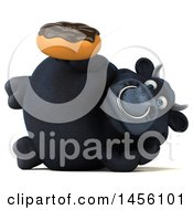 Clipart Graphic Of A 3d Black Bull Character Holding A Donut On A White Background Royalty Free Illustration