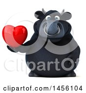 Poster, Art Print Of 3d Black Bull Character Holding A Love Heart On A White Background