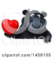 Clipart Graphic Of A 3d Black Bull Character Holding A Love Heart On A White Background Royalty Free Illustration