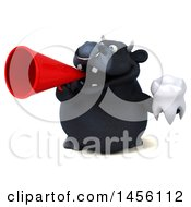 3d Black Bull Character Holding A Tooth On A White Background