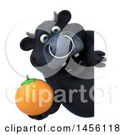 Clipart Graphic Of A 3d Black Bull Character Holding An Orange On A White Background Royalty Free Illustration