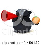 3d Black Bull Character Holding An Orange On A White Background