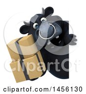 Clipart Graphic Of A 3d Black Bull Character Holding Boxes On A White Background Royalty Free Illustration