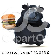 Clipart Graphic Of A 3d Black Bull Character Holding A Burger On A White Background Royalty Free Illustration
