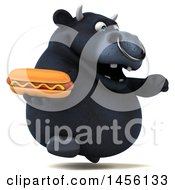 Clipart Graphic Of A 3d Black Bull Character Holding A Hot Dog On A White Background Royalty Free Illustration
