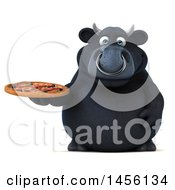 Clipart Graphic Of A 3d Black Bull Character Holding A Pizza On A White Background Royalty Free Illustration