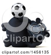 3d Black Bull Character Holding A Soccer Ball On A White Background