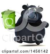 3d Black Bull Character Holding A Recycle Bin On A White Background
