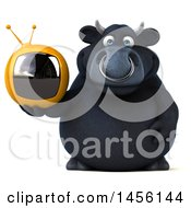 3d Black Bull Character Holding A Tv On A White Background