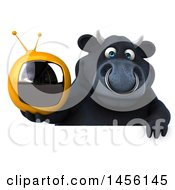Clipart Graphic Of A 3d Black Bull Character Holding A Tv On A White Background Royalty Free Illustration
