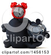 3d Black Bull Character Holding An Alarm Clock On A White Background