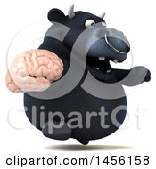 3d Black Bull Character Holding A Brain On A White Background