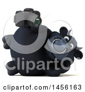 Clipart Graphic Of A 3d Black Bull Character Holding A Camera On A White Background Royalty Free Illustration