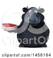 Clipart Graphic Of A 3d Black Bull Character Holding A Steak On A White Background Royalty Free Illustration