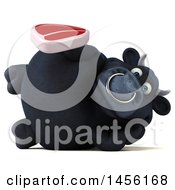 3d Black Bull Character Holding A Steak On A White Background